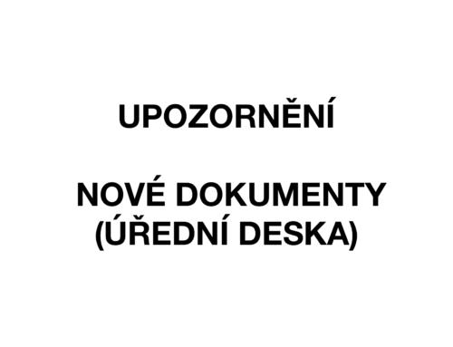 Upozornění na nové dokumenty na Úřední desce…